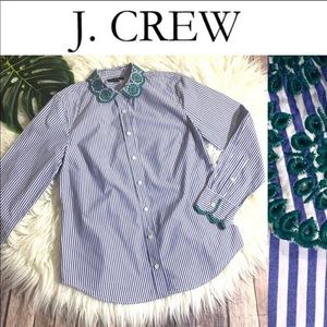 J. CREW Embroidered Striped Peter Pan Collar Top